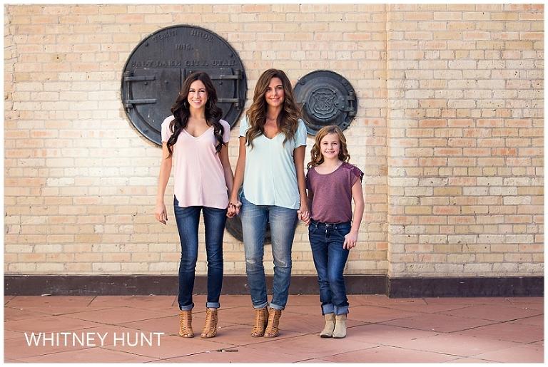 Salt Lake City family photo at Exchange Place.