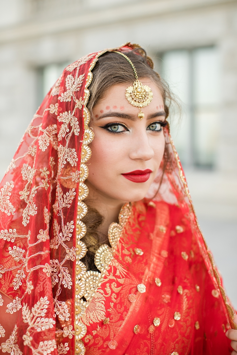 Indian bride in a traditional sari at the Utah State Capitol.