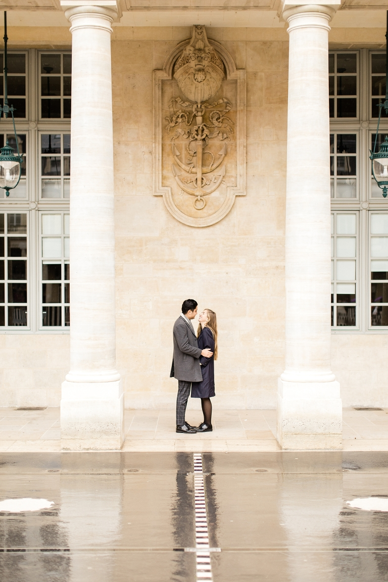 Palais Royal engagement photo. Paris engagement photographer. Whitney Hunt Photography.