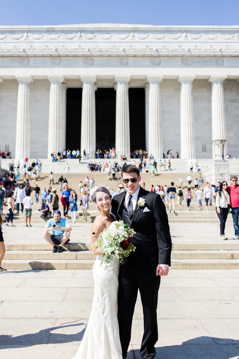 Summer Lincoln Memorial wedding photo. Whitney Hunt Photography.